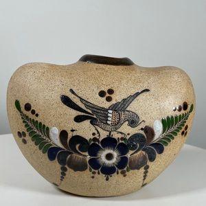 Vintage Tonala Pottery Vase, Signed sandstone mex